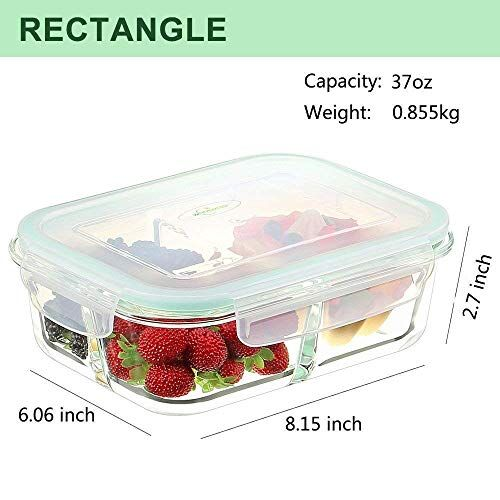 SVS ONLINE Standard Glass Lunch Box Microwave Oven Safe 3-Compartment Glass Storage Box with Leak Proof Airtight lid -1000ml(Transparent,Pack of 1)
