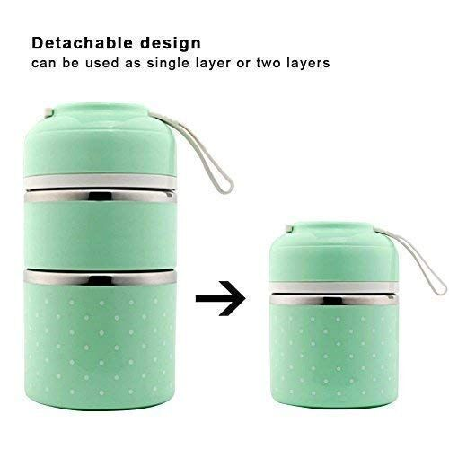 Fixoria Leak-Proof Lunch Box Food Container Tiffin Hot Box Stainless Steel and Plastic Insulated Lunch Box Vacuum with Handle