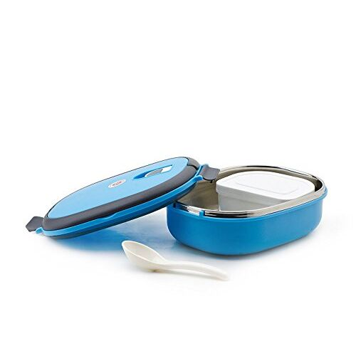 Homesoul Stainless Steel Vacuum Lunch and Dinner Tiffin Box for School (Blue, 900 ml)