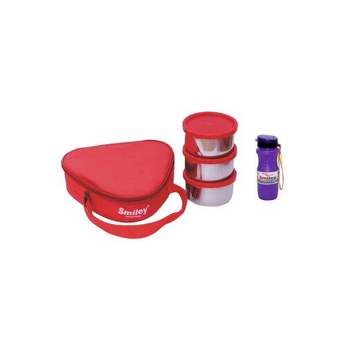 triangle lunch box with purple black water bottle