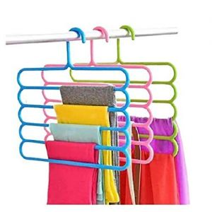5 Layer Multipurpose Multi-Layer Hangers for Clothes   Shirts   Wardrobe   Ties   Pants   Space Saving Hanger   Cupboard   Wardrobe Organizer   Plastic Hangers