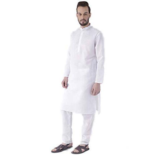 Hangup Men's Kurta Pyjama (White_Cotton_KP_42_White_42)