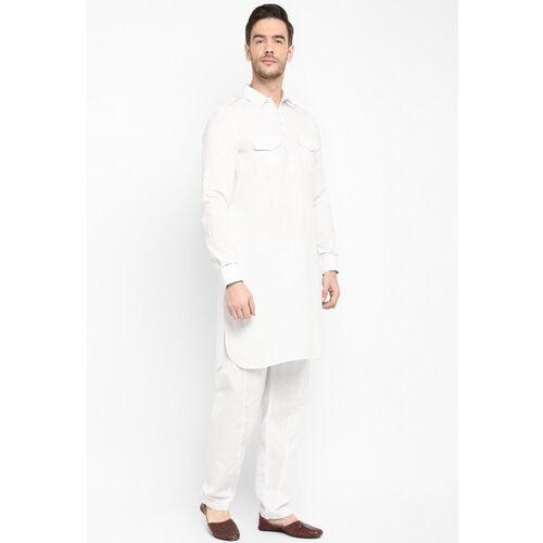 Hangup Men White Solid Kurta with Pyjamas