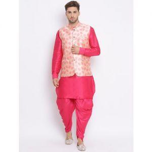 Hangup pink solid silk blend dhoti kurta set with printed nehru jacket