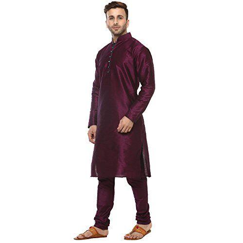 Hangup Men's Kurta Pyjama (Dark_Purple_Silk_KP_38_Purple_38)