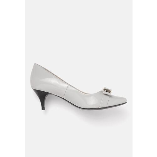 Carlton London Women Grey Solid Pumps with Bow Detail