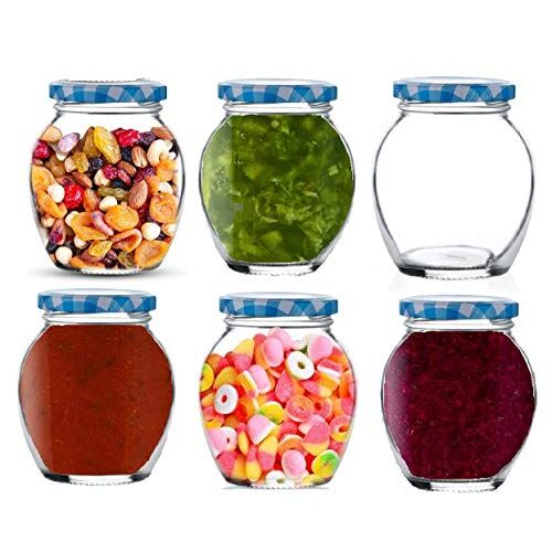 Star Work Glass Jar Air Tight Matka | Kitchen Accessories Transparent Containers for Storage of Spices Masala and Food Pack of 6 (Blue 400 ml)