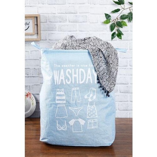 House Of Accessories Blue & White Printed Laundry Basket