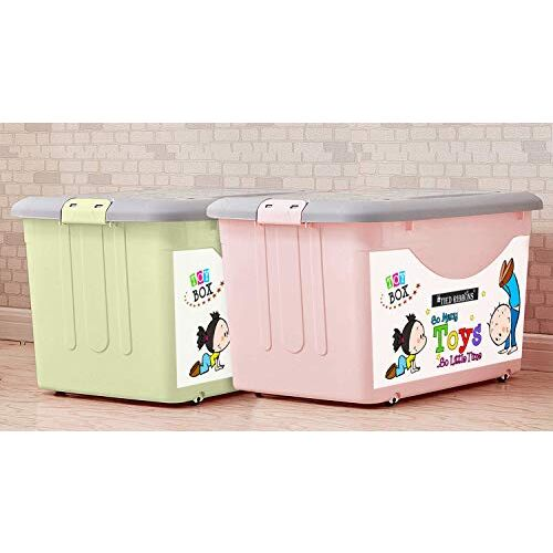 Spaces TIED RIBBONS Kid's Virgin Plastic Storage Box Container with Closing Lid, Wheels and Side Locking Handles - Set of 2 (Multicolour)