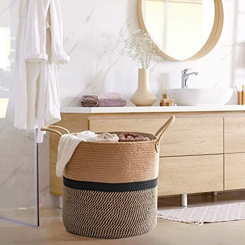 pepme Jute Cotton Laundry Basket, 16 inch Handcrafted Storage Bag for Home, Multi-Purpose Storage with Handle for Living Room Bathroom Laundry & Toys