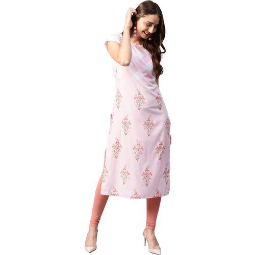 Ahalyaa Women Printed Straight Kurta(Pink)