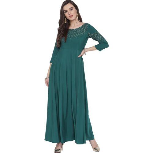 Ahalyaa Women Solid Gown Kurta(Dark Blue)