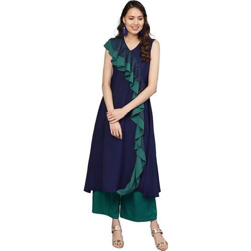 Ahalyaa Women Self Design A-line Kurta(Dark Blue)