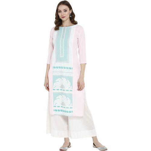 Ahalyaa Women Self Design Straight Kurta(Pink)
