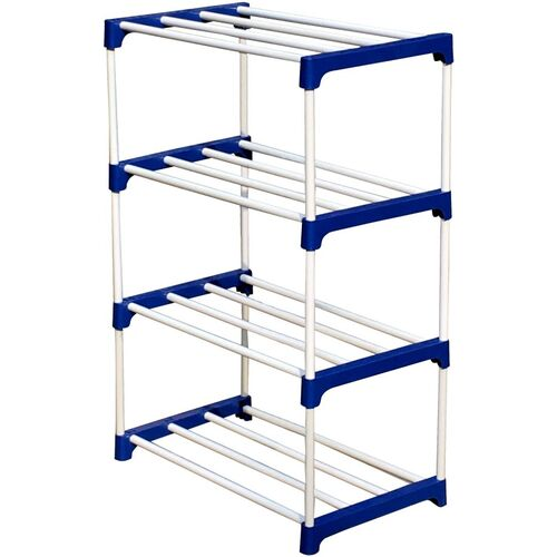 Cmerchants 4-L MATEL COLLAPSIBLE-SHOE-STAND Metal, Plastic Collapsible Shoe Stand(Blue, 4 Shelves, DIY(Do-It-Yourself))