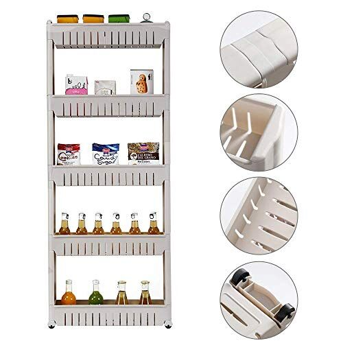 Verai Shop 5 Layer Slim Side Space Saving Storage Organizer Rack Shelf with Wheels for Easy Movement   Multipurpose Utility for Household Kitchen, Office,