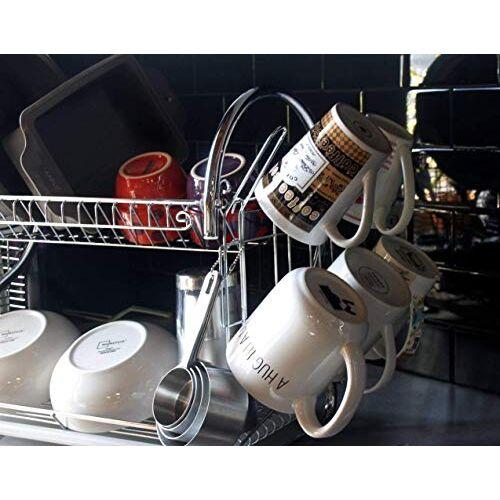 Arovita 2 Layer S Shape Stainless Steel Kitchen Dish Drainer Storage Rack Holder Glass, Plate, Fruits and Vegetable Utensils Storage Organizer