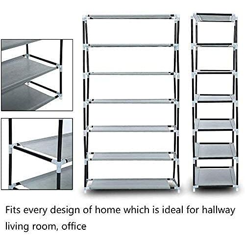 Beautify Multipurpose Portable Folding Shoe Rack 6 Shelves Storage Organizer Cabinet Tower with Dustproof Nonwoven Fabric and Zippered Cover