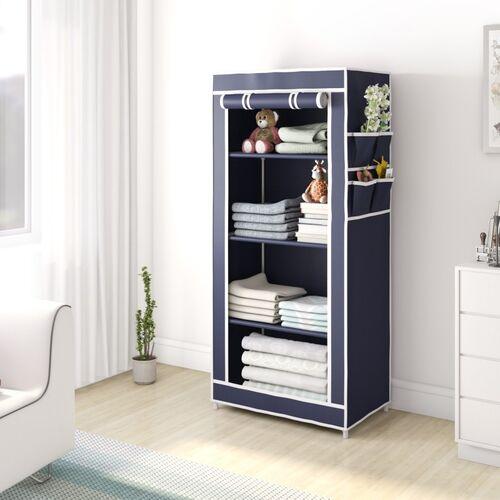 Flipkart Perfect Homes Studio Single Door 4 Shelf PP Collapsible Wardrobe(Finish Color - Blue, DIY(Do-It-Yourself))