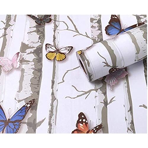 VI COLLECTIONS Butterflies and Trees Polyvinyl Chloride Wallpaper (200 X 45 Cms)
