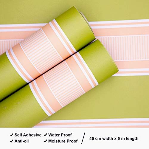 Wolpin Wall Stickers DIY Wallpaper (45 x 500 cm) Vertical Stripes Pattern Home Office, Kitchen and Restaurant Renovation Self Adhesive Decals, Green