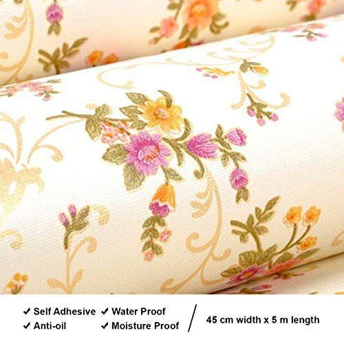 Amazon Brand - Solimo PVC Self-Adhesive WallPaper, Flowers, 45 x 500 cm