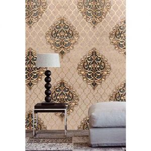 Eurotex Damask Design Wallpaper Roll for Covering Living Room, Bedroom Walls (PVC, Size- 21inch x 33ft, Roll 57sqft, Beige & Blue Color)