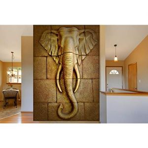 999STORE Non Woven Paper 3D Golden Stones And Elephant Head Mural Wallpaper