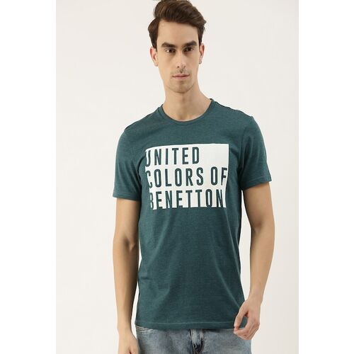 United Colors of Benetton Men Green Printed Round Neck T-shirt