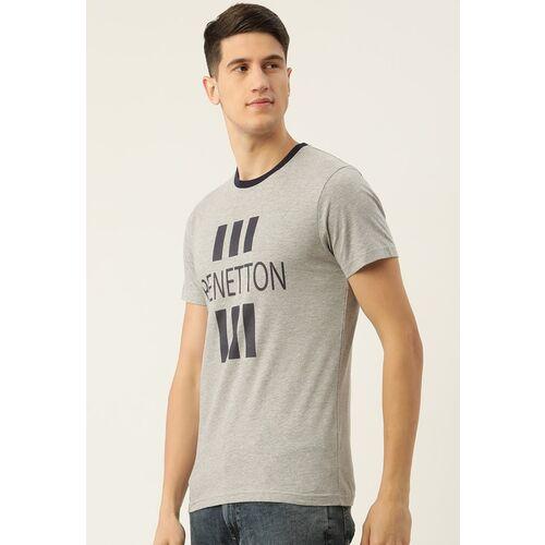 United Colors of Benetton Men Grey Melange Brand Logo Printed T-shirt