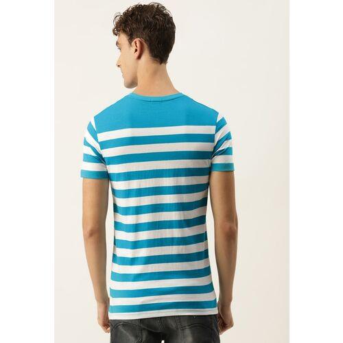United Colors of Benetton Men Blue & White Striped T-shirt