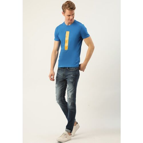 United Colors of Benetton Men Blue & Yellow Printed Pure Cotton Round Neck T-shirt