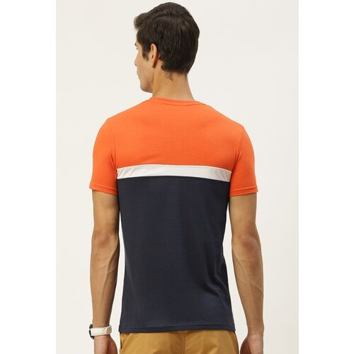 United Colors of Benetton Men Orange & Navy Blue Colourblocked T-shirt