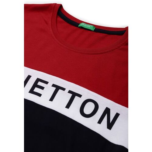 United Colors of Benetton Men Red & Navy Blue Colourblocked T-shirt