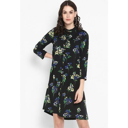 The Vanca Women Black Floral Printed A-Line Dress