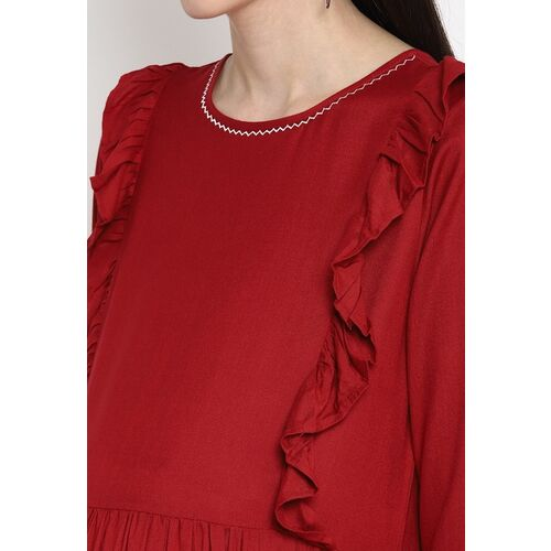 The Vanca Women Maroon Maternity Midi Dress