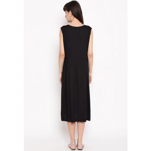 The Vanca Women Black Embroidered Yoke A-Line Maternity Dress