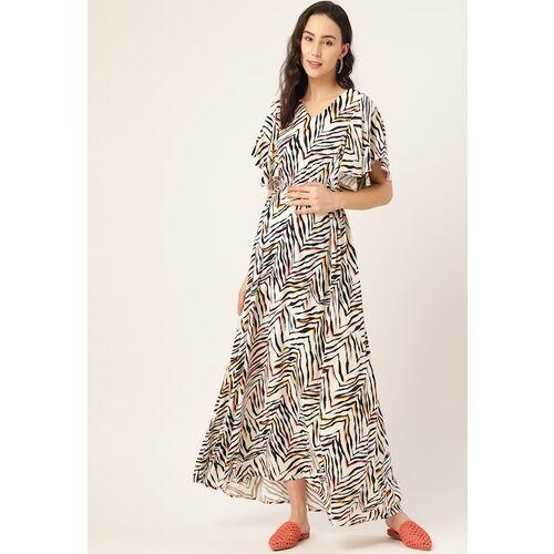 The Vanca Women White & Black Printed Sustainable Maternity Maxi Dress