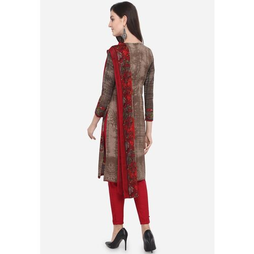 Satrani Brown & Maroon Poly Crepe Unstitched Dress Material