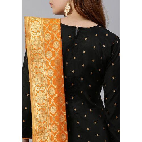 Satrani Black & Mustard Yellow Silk Blend Unstitched Dress Material