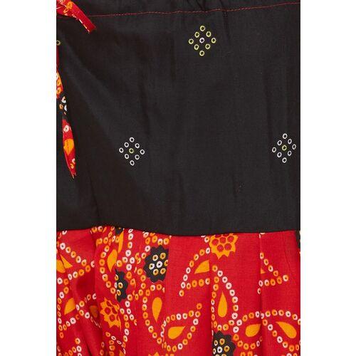 Satrani Black & Red Pure Cotton Unstitched Dress Material