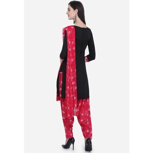 Satrani Black & Pink Poly Crepe Unstitched Dress Material