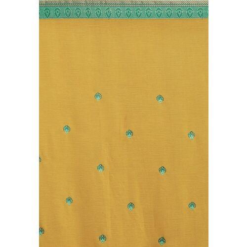 Shaily Mustard Yellow & Green Poly Chiffon Embroidered Saree
