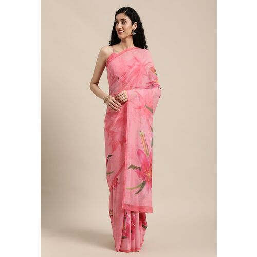 Shaily Pink & Green Floral Printed Georgette Saree
