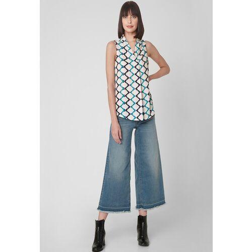 Vero Moda Women White Geometric Regular Top