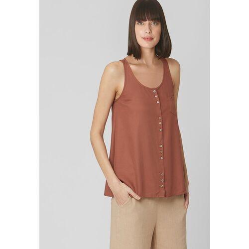 Vero Moda Women Rust Brown Solid A-Line Top