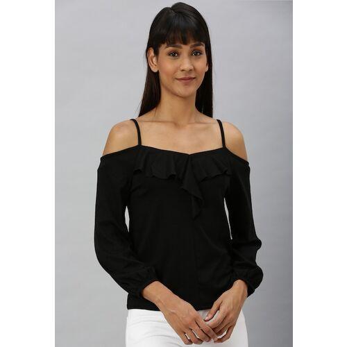 Vero Moda Women Black Solid Bardot Top with Ruffles