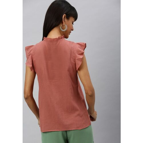 Vero Moda Women Rust Pink Solid Top with Gathered Detail