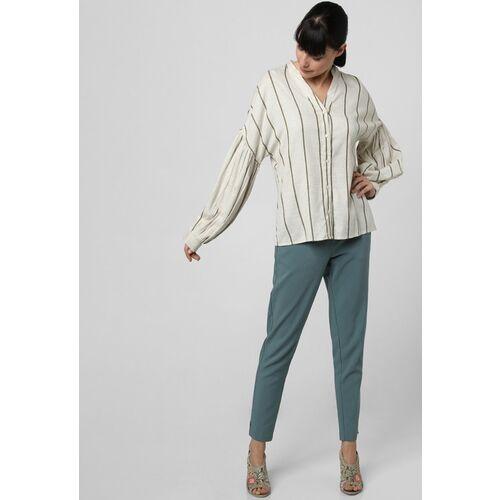 Vero Moda Women Off-White & Green Striped Shirt-Style Top