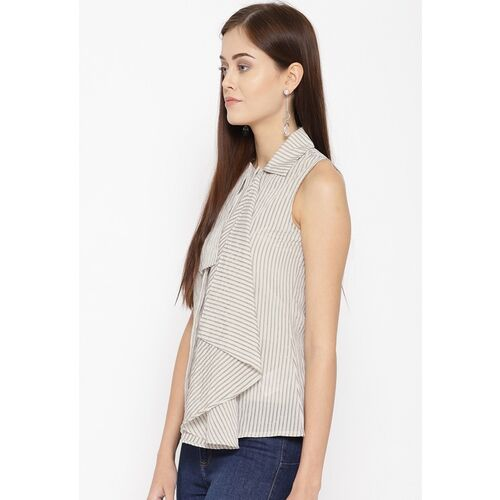 Vero Moda Women Beige & Off-White Striped Shirt-Style Top